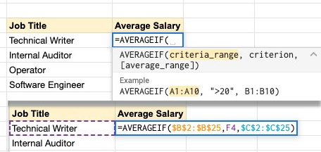 google sheets for human resources using averageif function