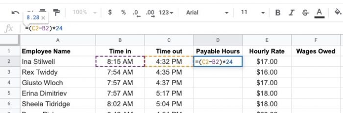 calculating payable hours with spreadsheet for human resources