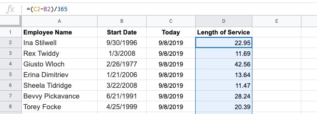 how to find employees' years of service using google sheets for human resources