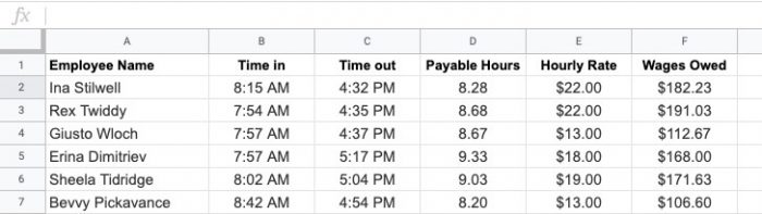 Easy to use payroll function with google sheets for human resources