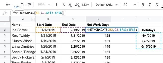 how to exclude holidays in spreadsheets for human resources