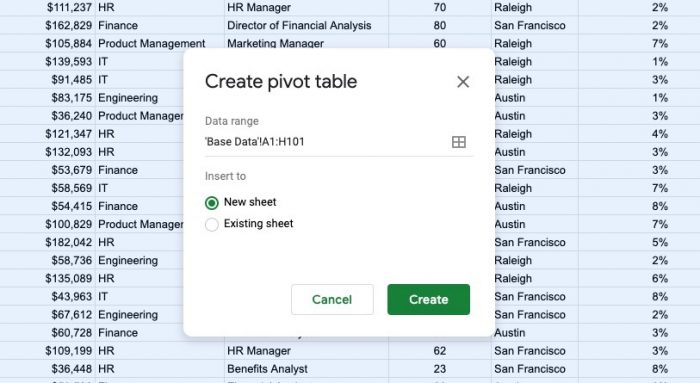 This Google Sheets tutorial walks you through how to do an annual salary review.
