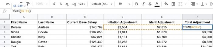 When doing an annual salary or compensation review, by taking into account inflation and merit-based raises, you'll arrive to the total adjustment.