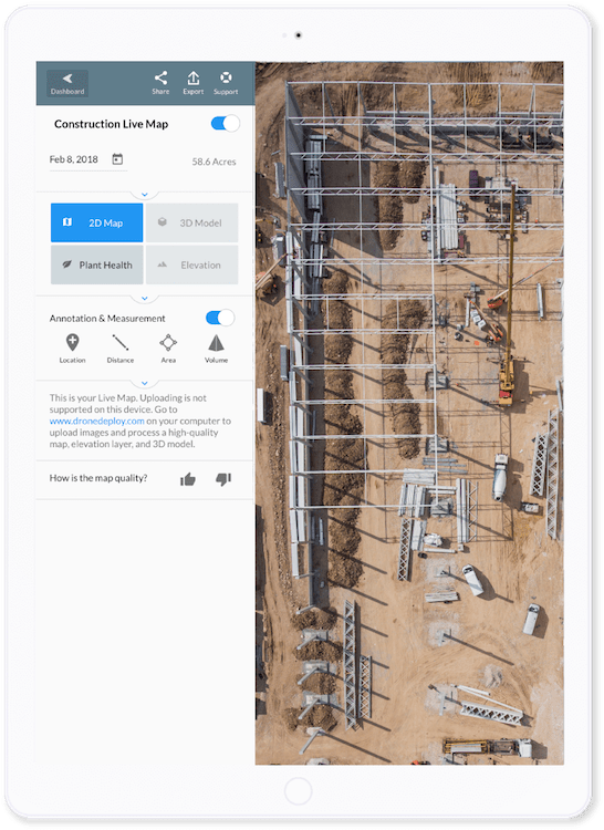 DroneDeploy is an app for construction workers that helps with aerial imaging and mapping.
