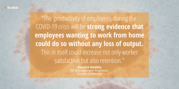 Expert Deanna Geddes gives her opinion on the effects of coronavirus on the future of the workplace