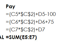 A close-up look at the formulas once they've been revealed by pressing CTRL+' shows there is some unaccounted for amounts being added and subtracted.
