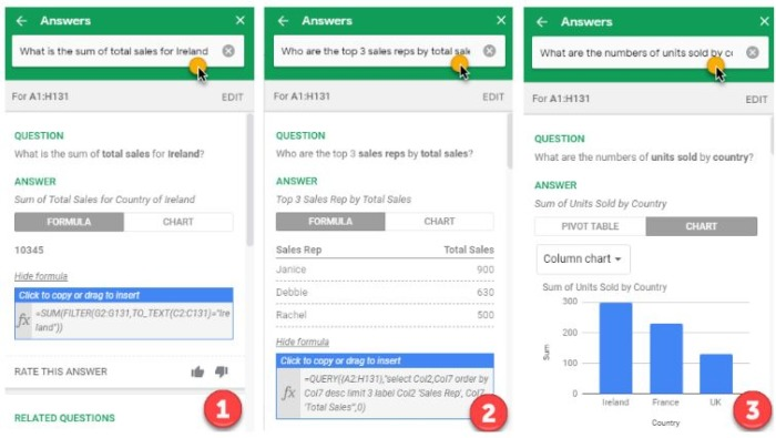 Three examples of questions and answers found through Google Sheets' Explore function