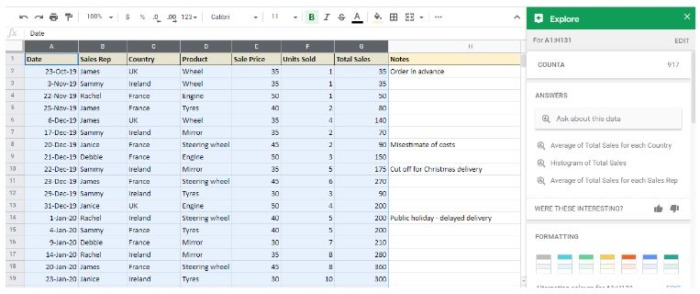 Explore offers options like Answers, Formatting, Pivot Tables, and Analysis
