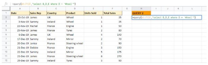 Retrieve any combination of columns in any order you like while using QUERY in Google Sheets