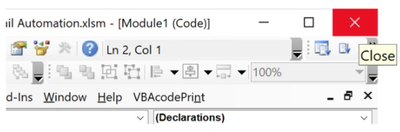 Click the X to return to the main Excel window
