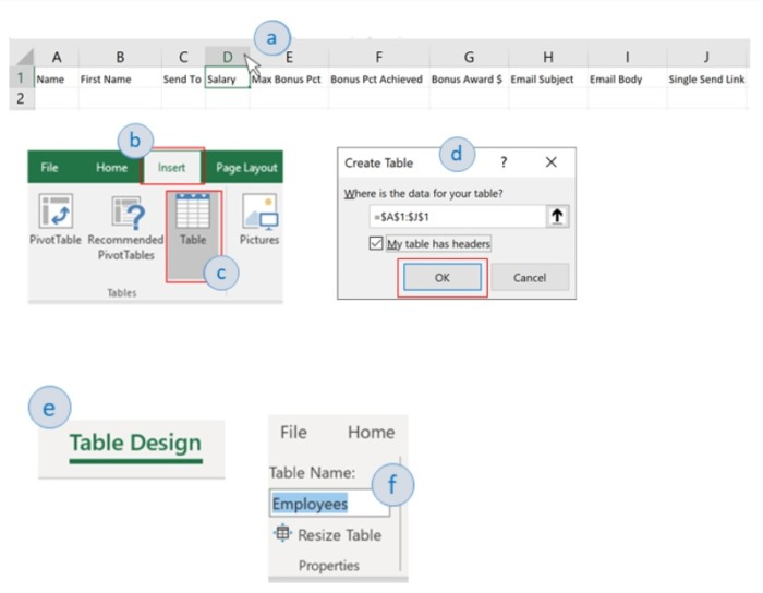 To automate emails from Excel, we must convert these ranges to an Excel Table first.