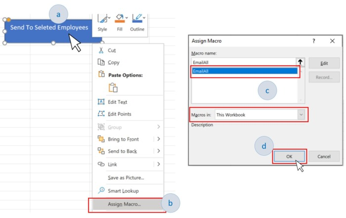 Assign a macro to the shape in Microsoft Excel