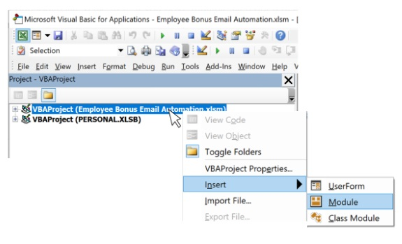 Adding a module to VBA project