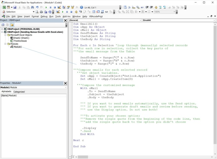 Adding code to your VBA project Module in order to automate sending emails